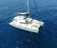 Catamaran Lagoon 440 available for charter in Alimos Marina Kalamaki