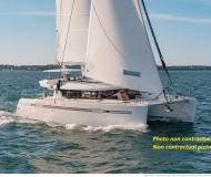 Catamaran Lagoon 450 available for charter in Hyeres Harbour