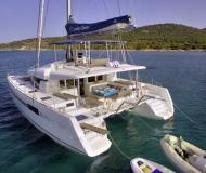Catamaran Lagoon 52 available for charter in Hydra Port